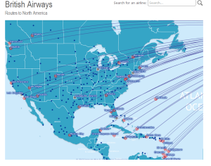 Example of British Airways map from Airline routemaps.com.  Where are these flights originating from?