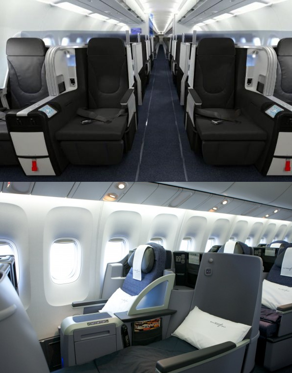 Top: Jetblue Mint seats, Bottom: United P.S. Service.  Both are premium cabins meant to compete for dollars