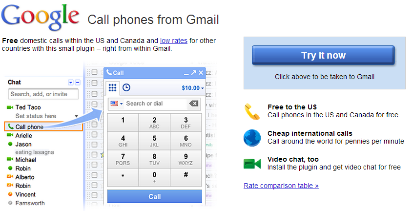 Google Call US-Canada