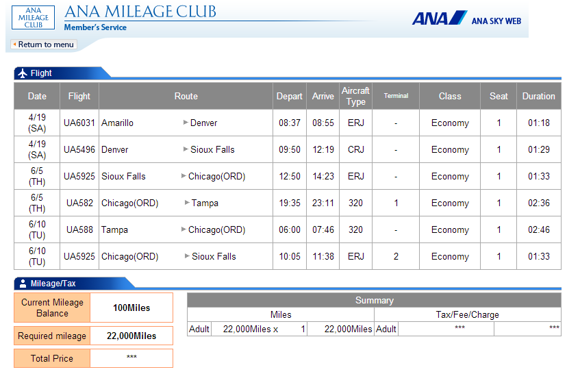 ANA FSD-AMA-TPA 22k booking