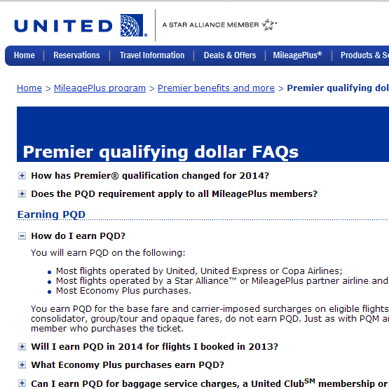 Click to go to United PQD FAQ.
