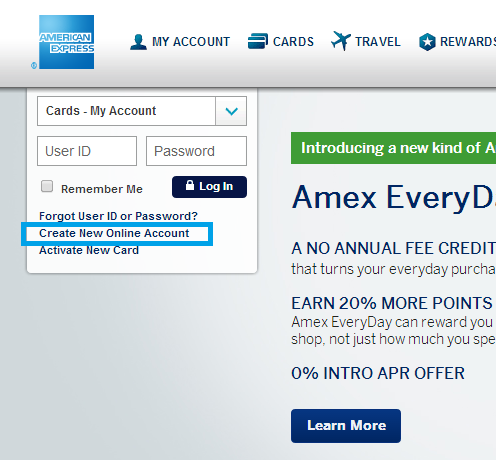 Amex Create New Online Account