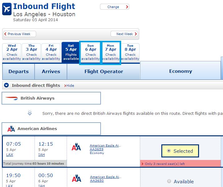 Inbound LAX-IAH