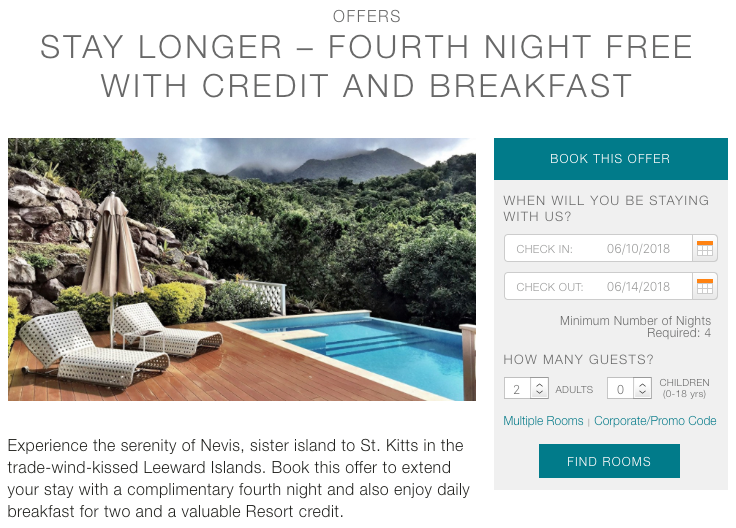 Four Seasons Nevis 4th Night Offer